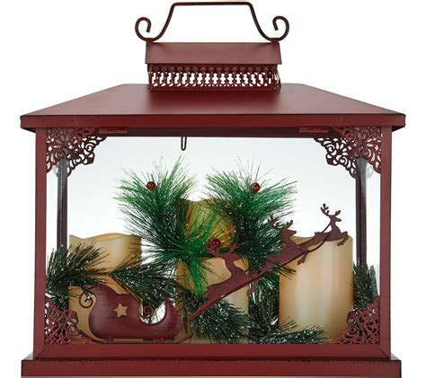 Oversized Holiday Lantern w/ 3 Flameless Candles by