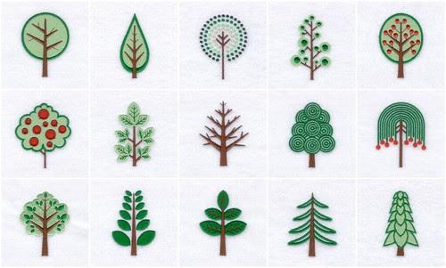 Retro Trees - Embroidery Designs 2