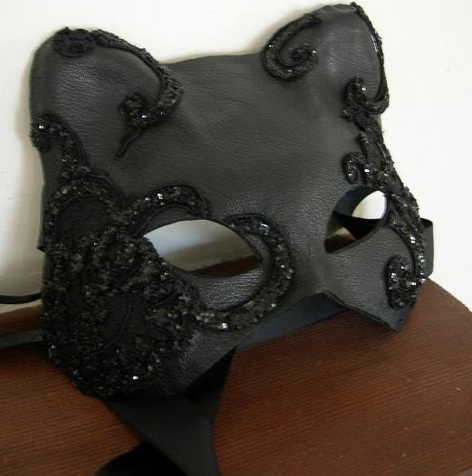 Super Sexy Black Leather and Lace Applique Cat Mask.