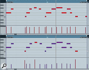 The two‑bar bass line without (above) and with (below) the groove applied. Note the subtle shifts in the starting points of some notes in the lower version and how the Velocity setting has been (deliberately over) used so that three notes are now heavily accented to mirror beats which had emphasis in the drum loop that formed the source of the groove