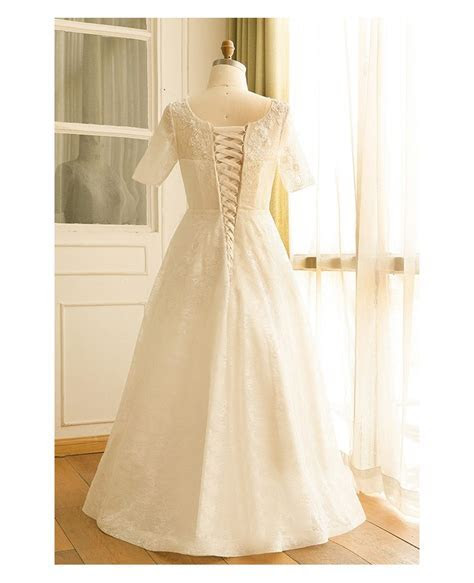 Modest Plus Size Ivory Lace Mature Women Wedding Dress