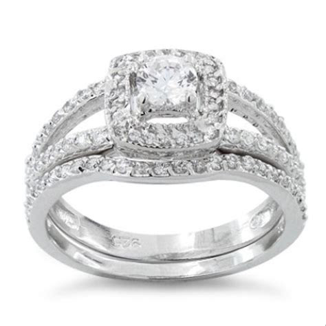 Bridal Sets: Cz Bridal Sets In Sterling Silver
