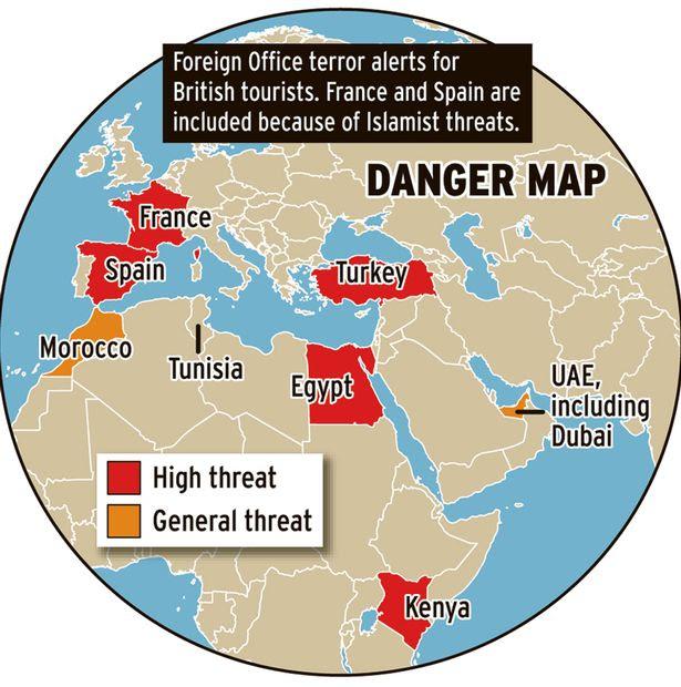 Terror Map highlighting hotspots around the world