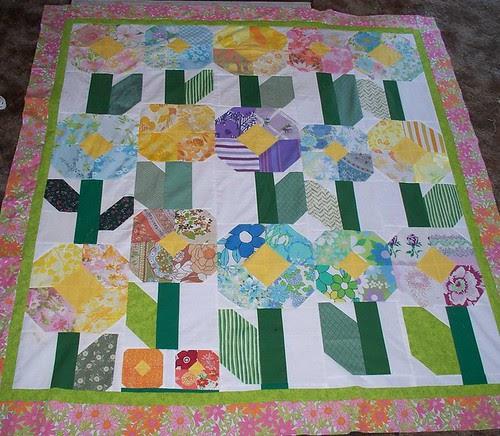 vintage sheet flower quilt top