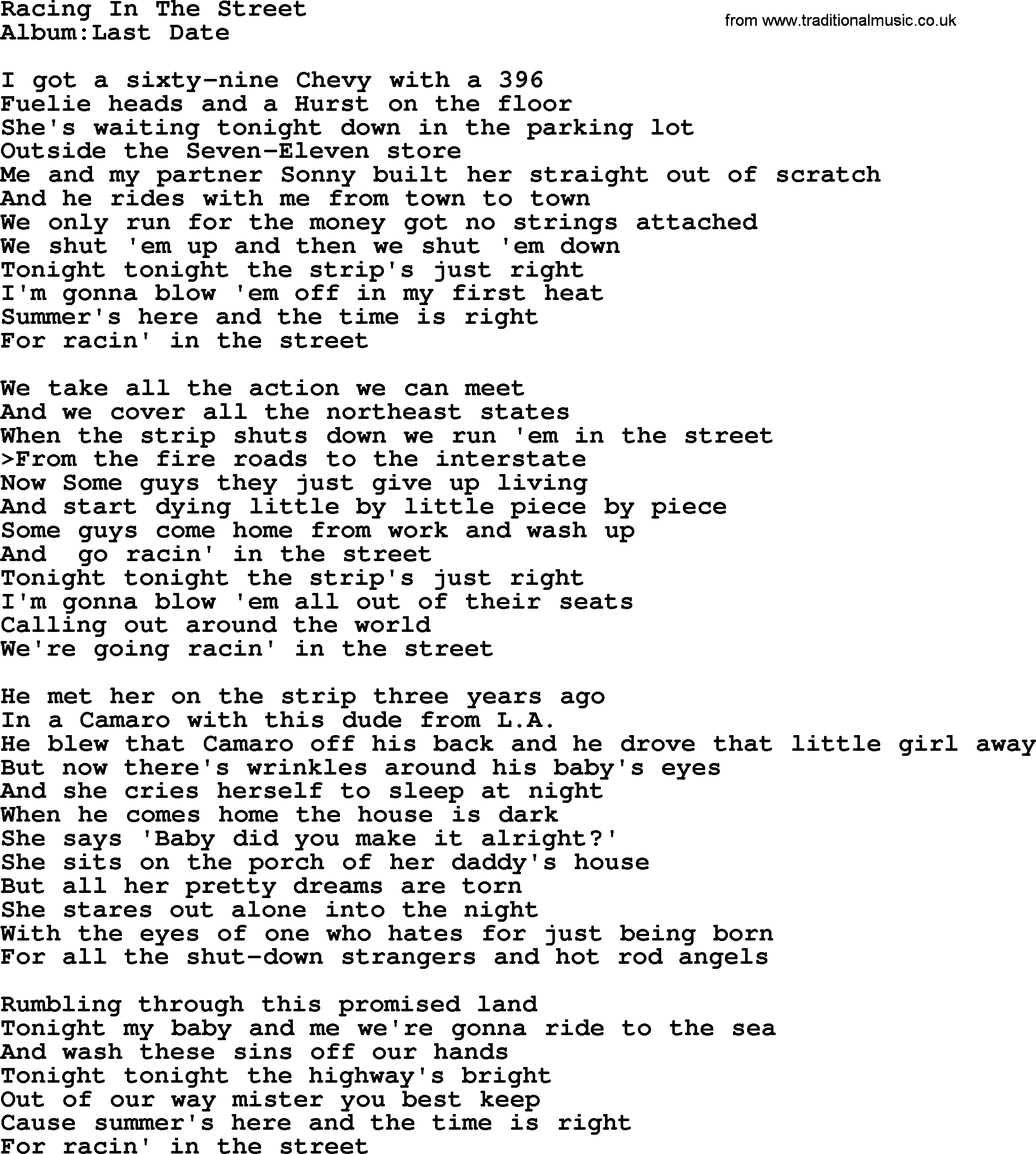 Emmylou Harris song: Racing In The Street, lyrics