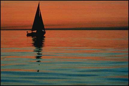 Sailboat on water-horizon upper 3rd