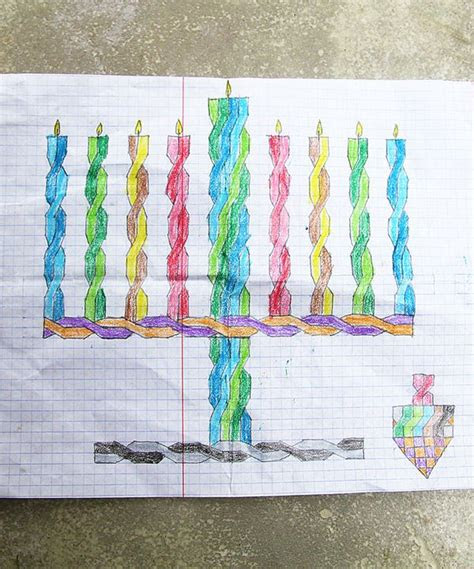 hanukkah drawings  graph paper  visited creative