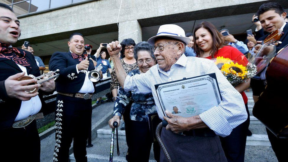 Fabio Alvarado, 91, originally from El Salvador was sworn in as a US citizen on election day