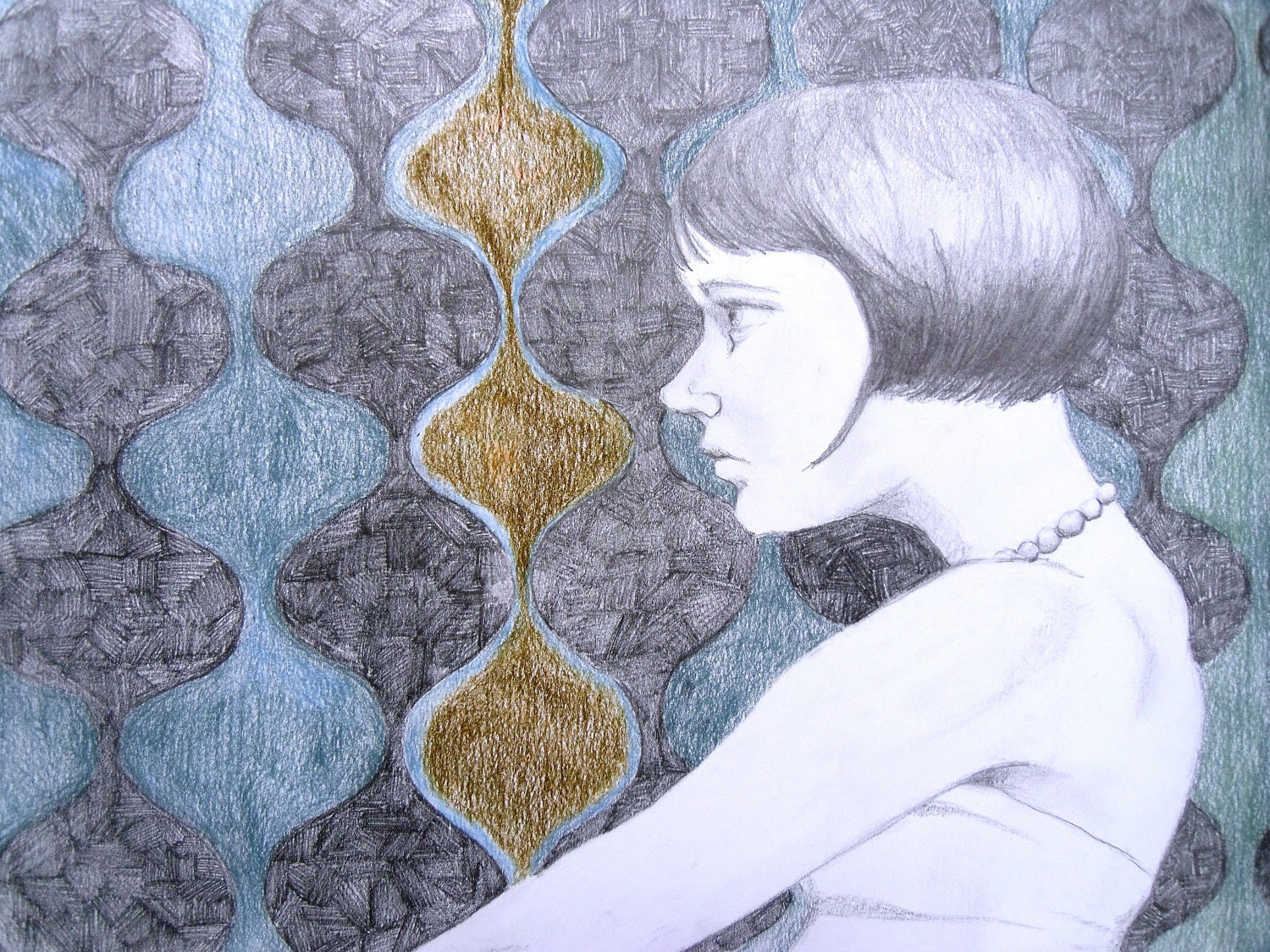 "Original Portrait Drawing, Graphite and Colored Pencil, Modern Art, Contemporary Blue Gray ""Thinking"""