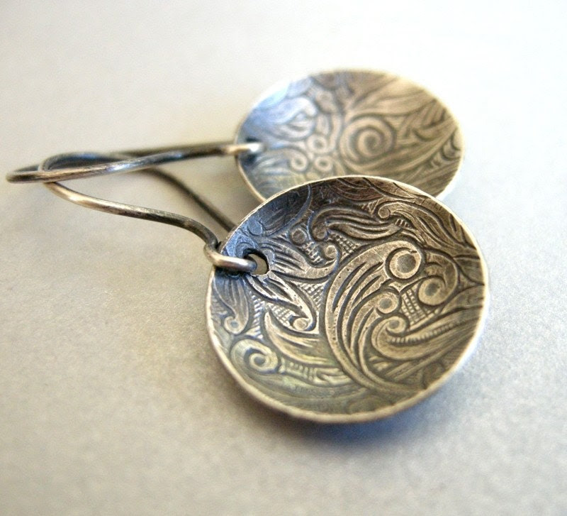 Rio earrings embossed flowing water on oxidized sterling silver