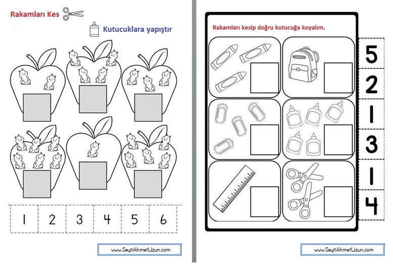 1 Sınıf Matematik Rakamları Kes Yapıştır Etkinliği Seyit Ahmet