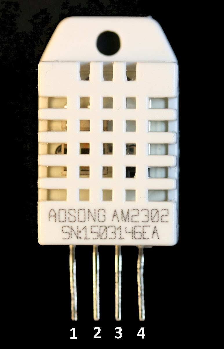 The DHT22 or AM2302 Humidity and Temperature Sensor. Pins: 1-Vdd, 2-Data, 3 n/c, 4-GND.