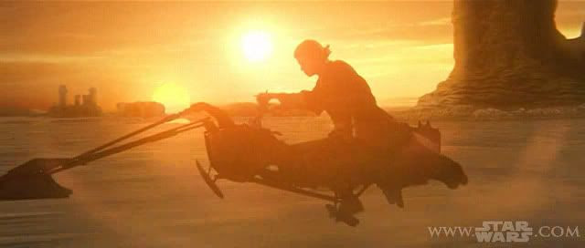 Anakin the Biker Dude.  Actually, he's riding a swoop bike across the Tatooine landscape