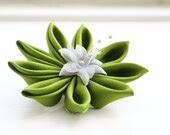 Kanzashi Flower Hair Clip in Chartreuse Green Habotai Silk - cuttlefishlove
