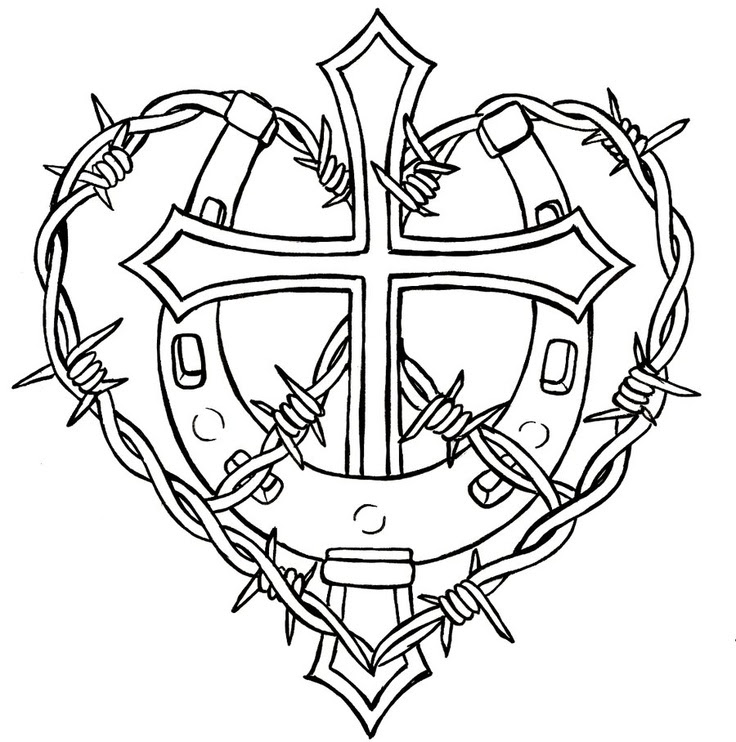 Crosses With Roses Drawing At Getdrawingscom Free For Personal