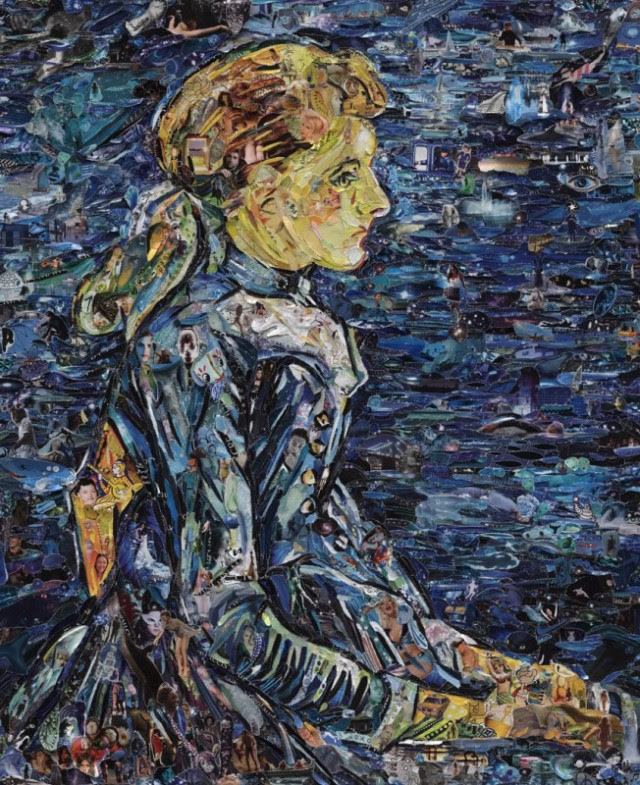 Famous Paintings Recreated Using Thousands of Torn Magazine Scraps paper painting collage