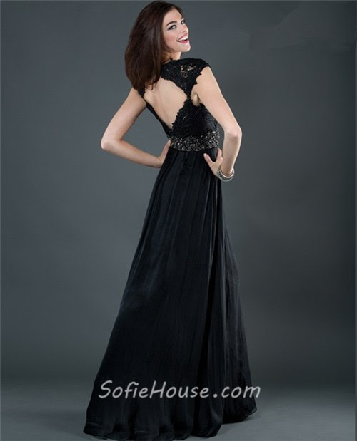 Black evening dress backless