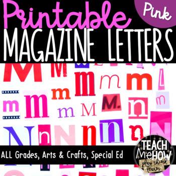Printable Magazine Letter Cutouts, Valentine Theme: Litera