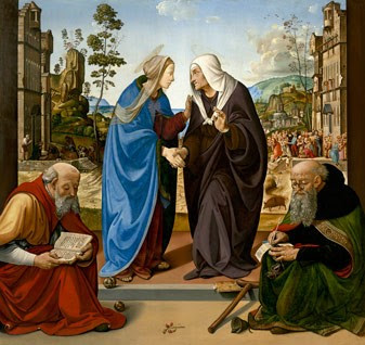 Piero di Cosimo, The Visitation with Saint Nicholas and Saint Anthony Abbot, c. 1489/1490, oil on panel, 184.2 x 188.6 cm (72 1/2 x 74 1/4 in.), National Gallery of Art, Washington, Samuel H. Kress Collection