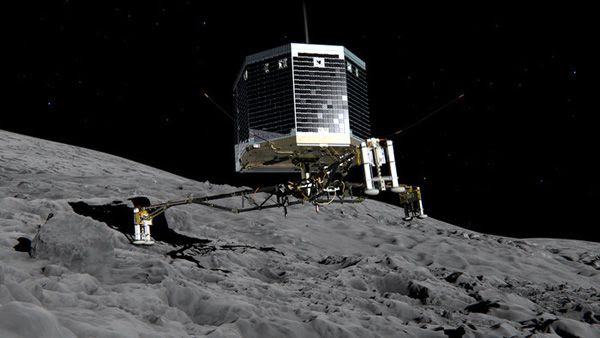An artist's concept of the Philae lander touching down on the surface of Comet 67P/Churyumov–Gerasimenko.