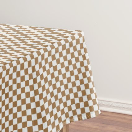 Brown and White Checkered Tablecloth