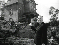 Alfred Hitchcock and Bates home set