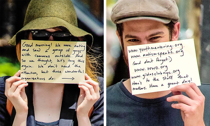 6 - Emma Stone and Andrew Garfield decided to use the attention of photographers for a good cause.