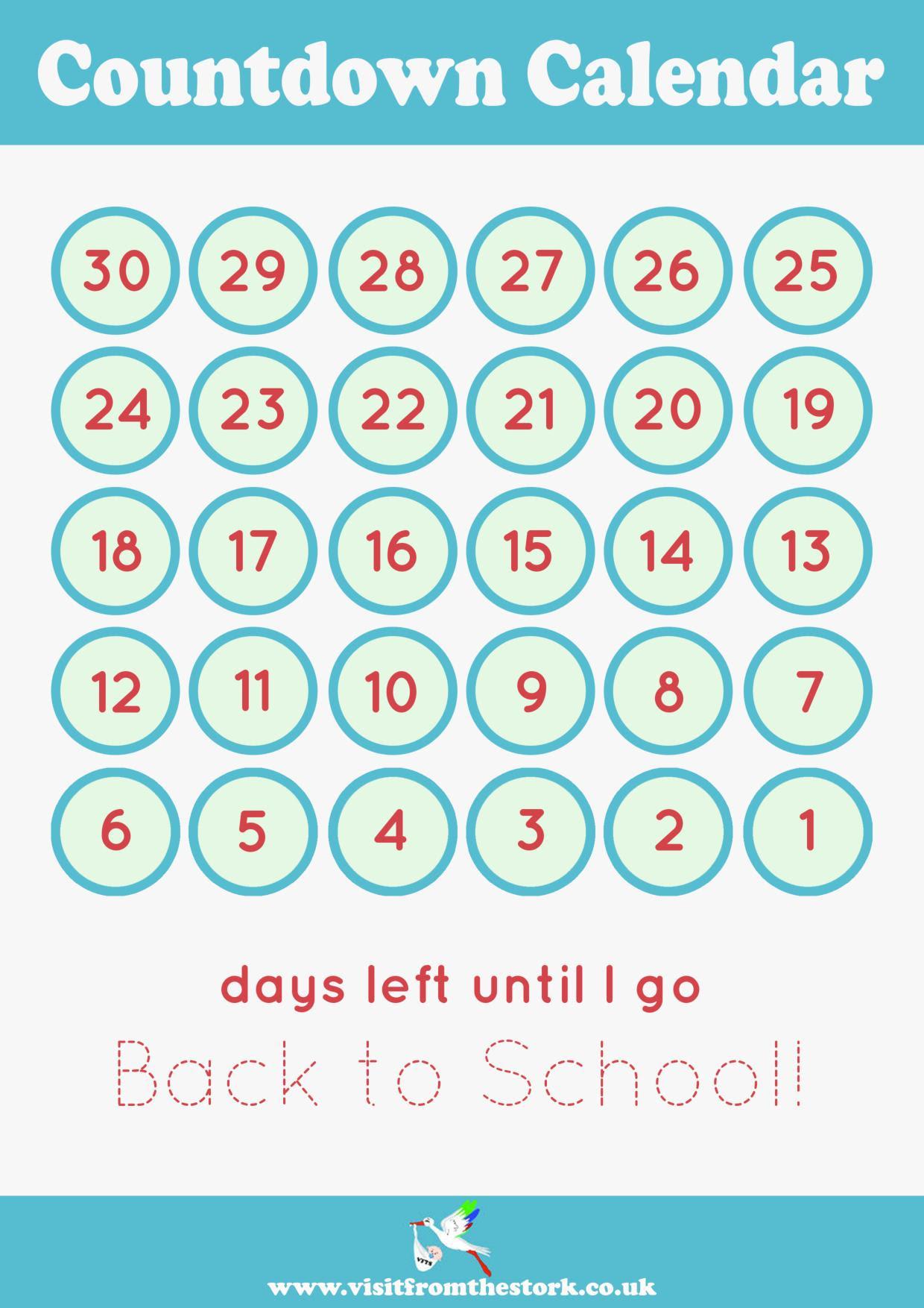 Countdown Calendar Printable page 001
