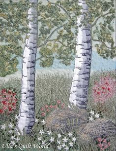 Ulla's Quilt World: Quilted tree wall hanging - she knows how to paint with thread.  Look how she did the rocks.