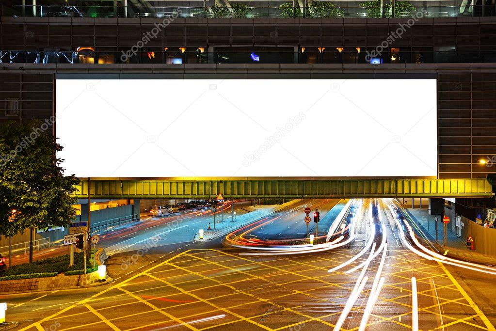 Big empty billboard at night in city — Stock Photo © leungchopan ...