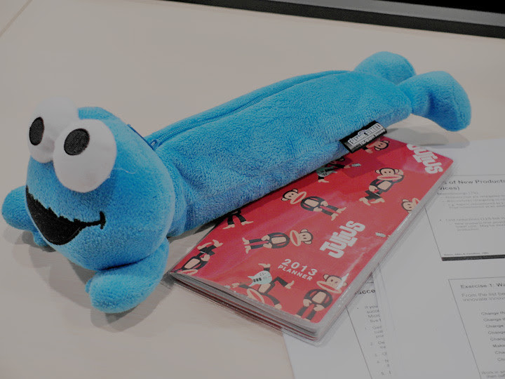 cookie monster pencil case and paul frank planner