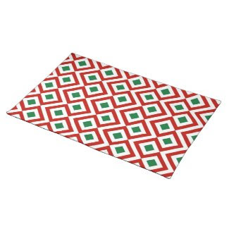 Red, White, Green Meander Place Mats