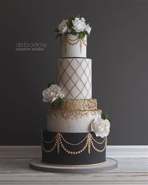 Glamorous Gatsby inspired wedding cake   Beautiful wedding