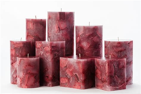 red chunky pillar candles