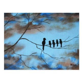 Birds In Tree In Sky Mother's Day Abstract Art Postcards