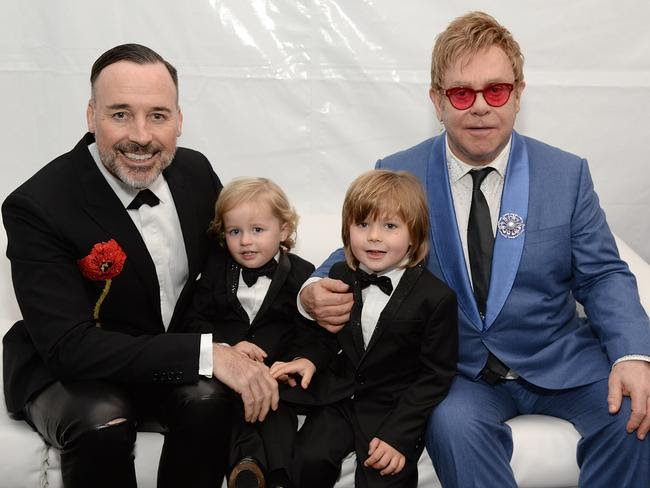 The music legend wants to spend more time with his sons, Elijah Furnish-John and Zachary Furnish-John. Picture: Michael Kovac/Getty Images for EJAF