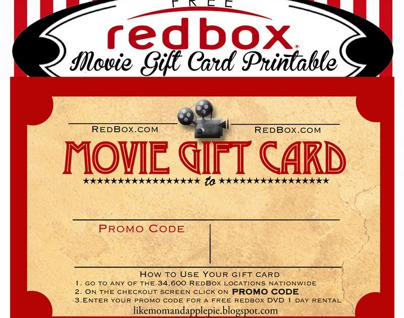 like mom and apple pie  movie gift card printable  free