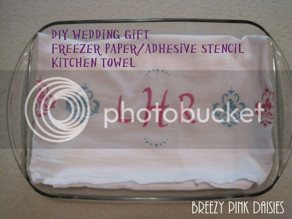 DIY Stenciled Ktichen Towel {Breezy Pink Daisies}
