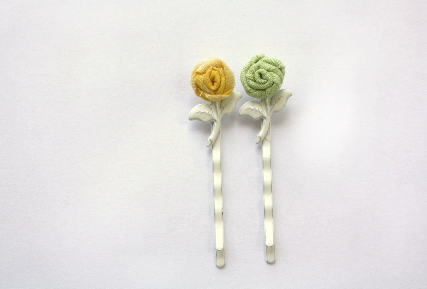 Tiniest Rose Bobby Pin Set- Yellow and Green Fabric Roses on White Metal Bobby Pins with Leaves