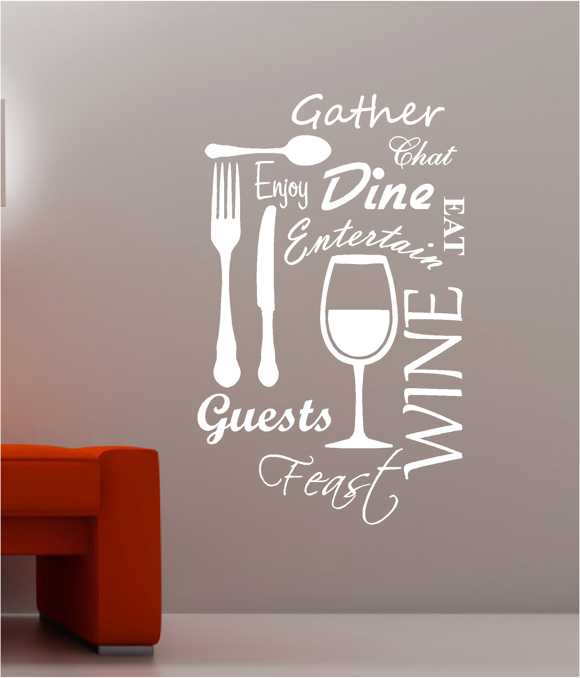 KITCHEN WORD CLOUD vinyl wall art QUOTE sticker dining