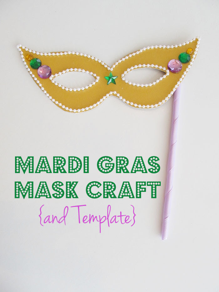 Mardi Gras Mask Template and Craft Project for Kids