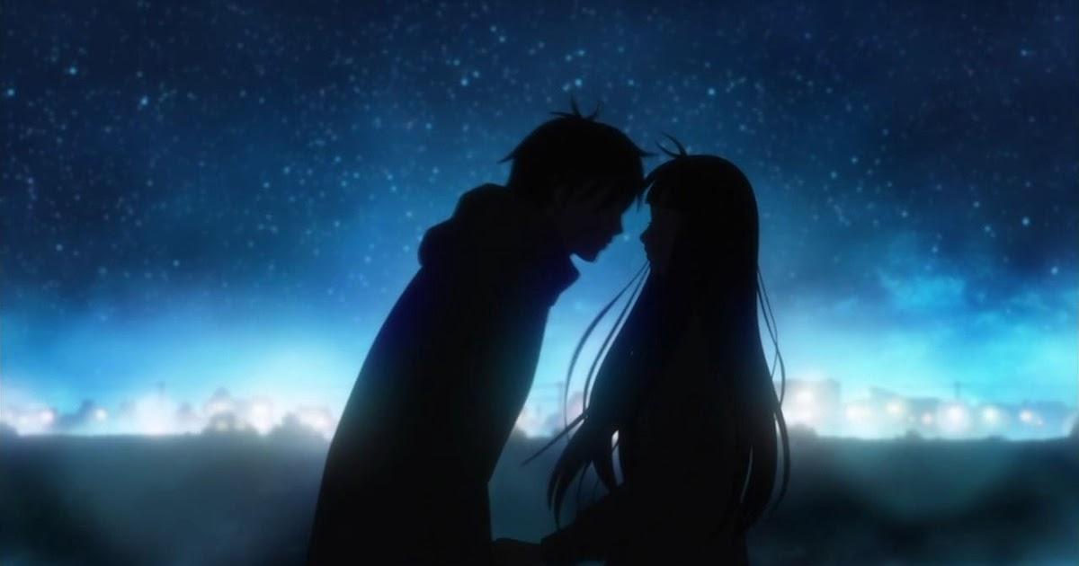 Romantic Night Scenery Romantic Anime Kiss Wallpaper ...