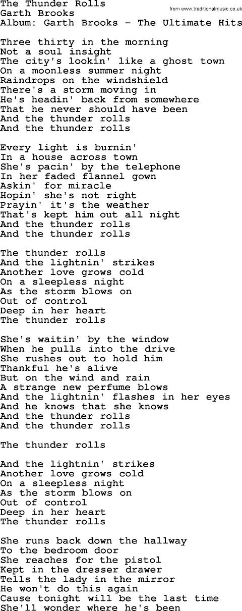 Garth Brooks Thunder Rolls Lyrics Extended Version