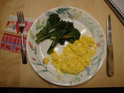 scrambled eggs, broccolini, and valentine's napkin