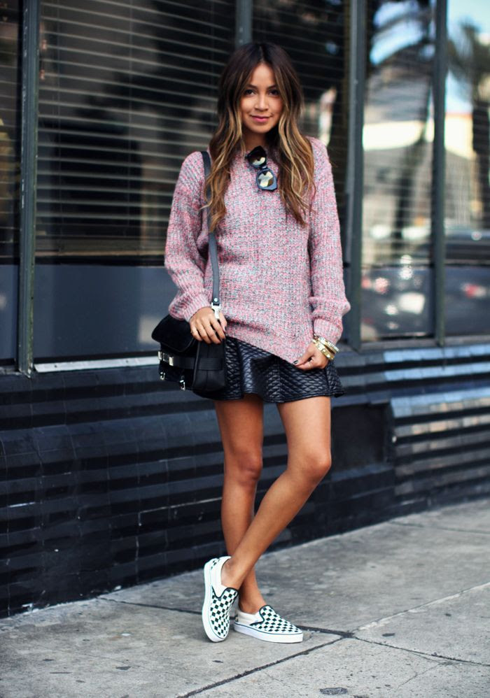 Le Fashion Blog -- 15 Ways To Wear Checkered Vans Slip On Sneakers -- Blogger Style: Knit And Skirt -- Via Sincerely Jules -- photo 1-Le-Fashion-Blog-15-Ways-To-Wear-Checkered-Van-Slip-On-Sneakers-Blogger-Style-Knit-Skirt-Via-Sincerely-Jules.jpg