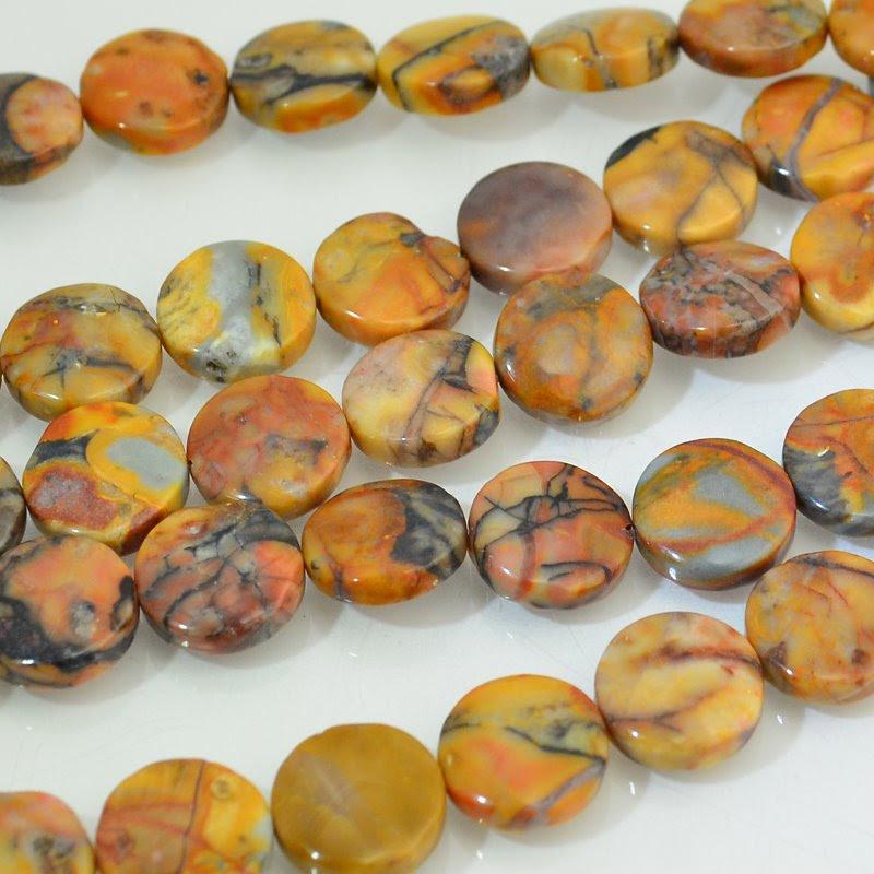 s46140 Stone Beads - 12 mm Coin - Venus Jasper (strand)