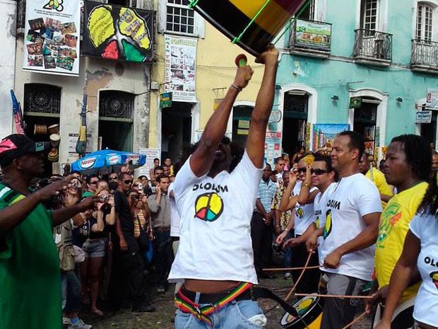 Olodum faz ensaio de verão neste domingo, no Pelourinho (Foto: Divulgação)
