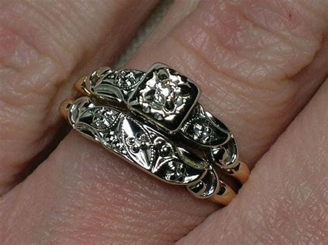 Vintage Wedding Rings Set: Ornate Two Tone with Old Mine