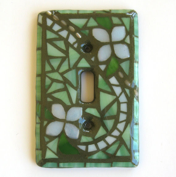 Summer Garden GLOW Single Mosaic Light Switch Cover by Mosaic Smith  Eclectic  Switch Plates