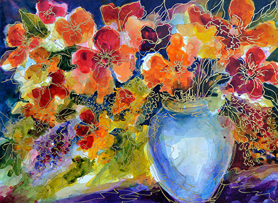 "Spring Song by Filomena Booth Mixed watermedia ~ 16"" x 20"""